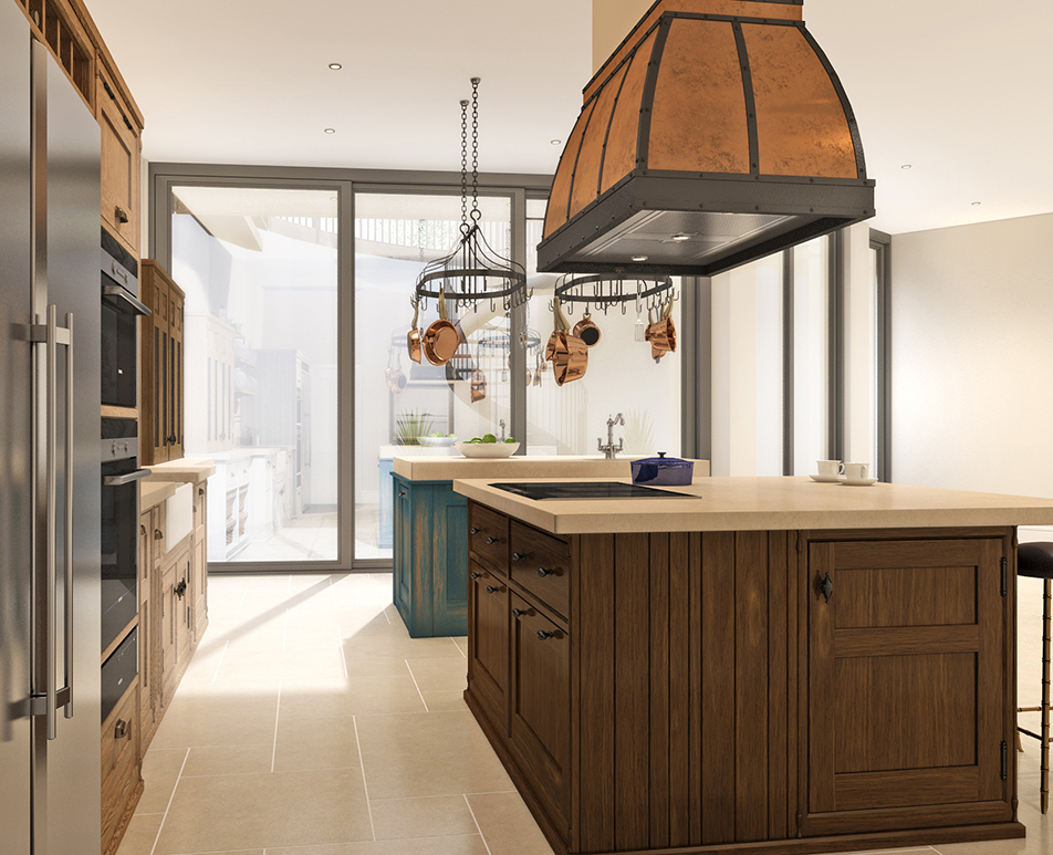 Distressed Island Kitchen CGI 03