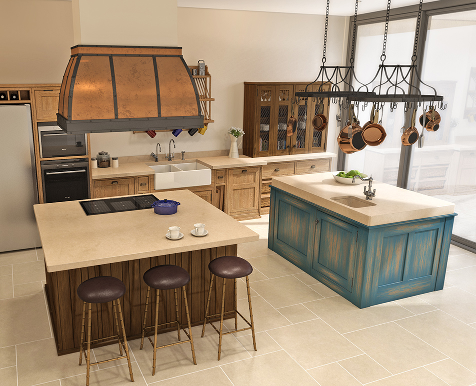 Distressed Island Kitchen CGI 04