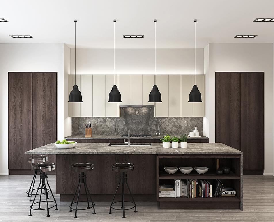 Modern Handle-less Kitchen CGI 01