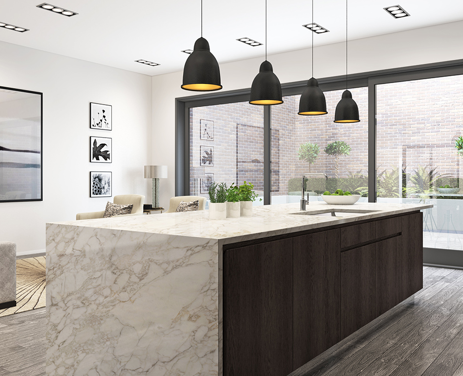 Modern Handle-less Kitchen CGI 03