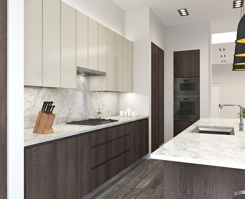 Modern Handle-less Kitchen CGI 04